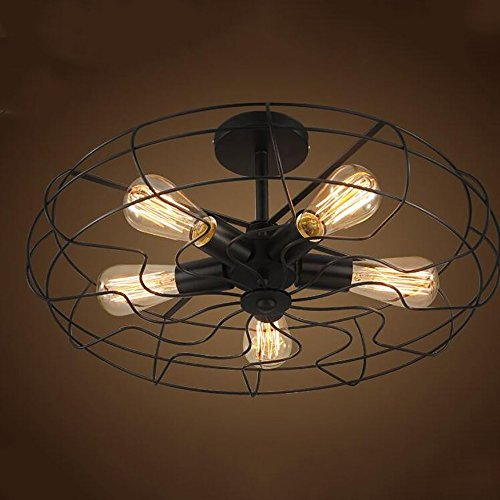 TOYM US American Village Industrial Wind Black Paint Iron Ceiling Mounts Creative Creative Retro Fan Aisle Ceiling Lamps (Color : Small)