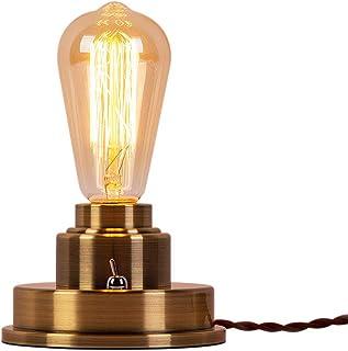 (セーディコ)Cerdeco 無骨でかっこいい インダストリアル系 アンティーク調1灯式デスクライト 裸電球の存在感を際立たせる テーブルランプベース ブロンズメッキ ディスプレイ トグルスイッチ付き 卓上照明 TBL15