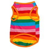 BUYITNOW Rainbow Stripe Pet Vest Breathable Summer Cotton Sleeveless T-Shirt Small Dog Cat Clothes