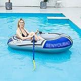 Bote Inflable, Pesca Barco Hinchable con Estera de Flotador de Surf con Remos Y Bomba de Pie en Aluminio para 1-2 Personas