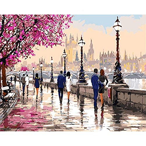 YEESAM ART DIY Paint by Numbers for Adults Beginner Kids, Cherry Blossoms Road, Romantic Street View 16x20 inch Linen Canvas Acrylic Stress Less Number Painting Gifts (Cherry Blossom, with Frame)