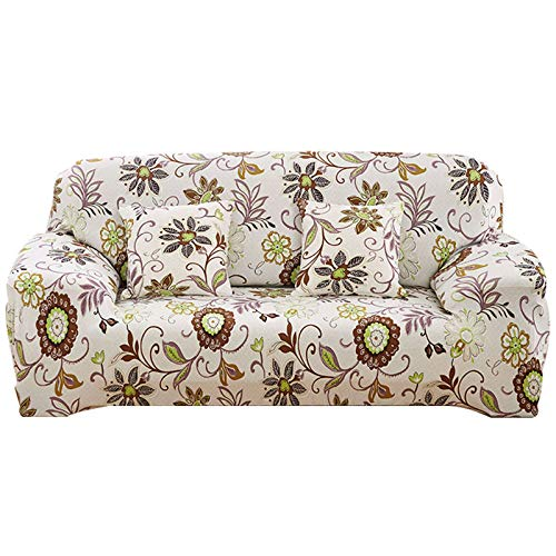 HUNOL Sofabezug Blumendruck, 1 Stück Stretch Sofahusse Elastische Weich Couchbezug Abwaschbar Möbelschutz mit Elastischem Boden für Wohnzimmer-11-Medium