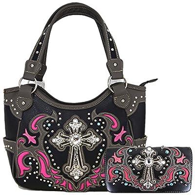 Western Style Rhinestone Cross Tote Concealed Carry Purse Laser Cut Handbag Women Shoulder Bag Wallet Set (Black/Fuchsia Set)