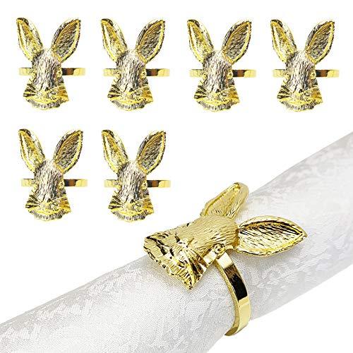Easter Napkin Rings Set of 6, Rabbit Napkin Holder Ring for Spring, Wedding, Dinner Party, Banquet, Birthday