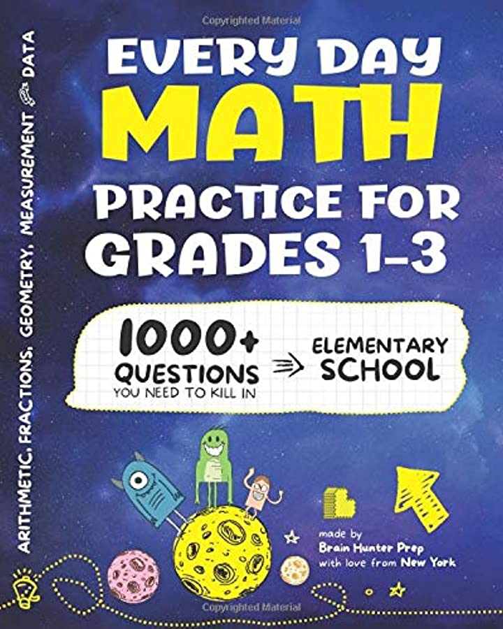 不承認応用樹皮Every Day Math Practice: 1000+ Questions You Need to Kill in Elementary School | Math Workbook | Elementary School Study Practice Notebook | Grades 1-3