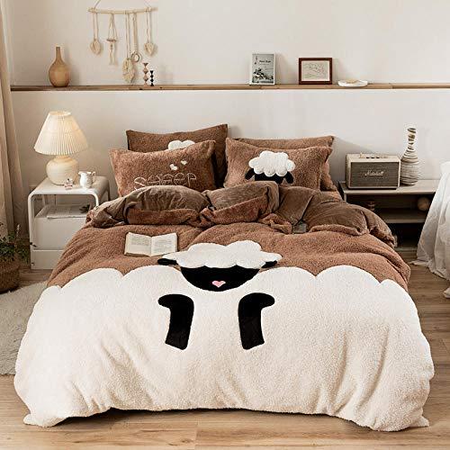 juego de funda de edredón cama matrimonio-Dibujos animados de lana de cordero invierno gruesa calidez sábanas de franela funda nórdica funda de almohada ropa de cama regalo-mi_Hojas de 2,0 m (4 pieza