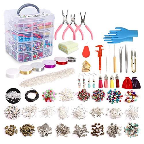 N/A. Kit de 1960 piezas para hacer joyas con cuentas, abalorios, alicates para joyas, abalorios, collares, pulseras, pendientes, accesorios