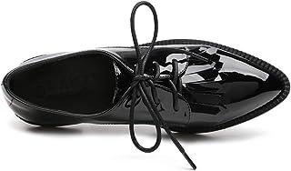 ポインテッドトゥ おじ靴 レディース レースアップシューズ 黒 エナメル パテントレザー 通勤用 レディース シューズ コンフォートシューズ パンプス ぺたんこ ペタンコ ヴィンテージ 革靴