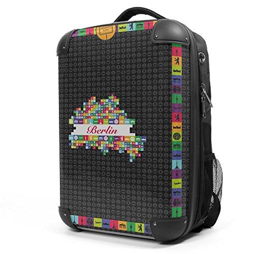 HAUPTSTADTKOFFER - Style Laptoprucksack Rucksack Business Laptop Rucksack Arbeits Daypack, individuell gestalten, Geschenkidee, Design: Berlin Schwarz
