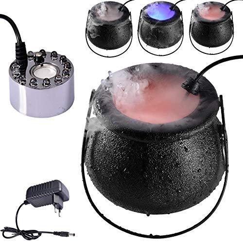 Máquina de Niebla de Halloween, 12 Luces LED Que cambian de Color, máquina de Niebla para caldero de Bruja de Halloween, máquina de Niebla de Humo para caldero de Fiesta de Halloween de 16 W