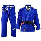 Malino Traje Jiu Jitsu Gi Brasileño Azul, Uniforme de Adulto, Perla Tejido 100% algodón 550Gsm, Pantalones 10oz Ripstop Talla A1