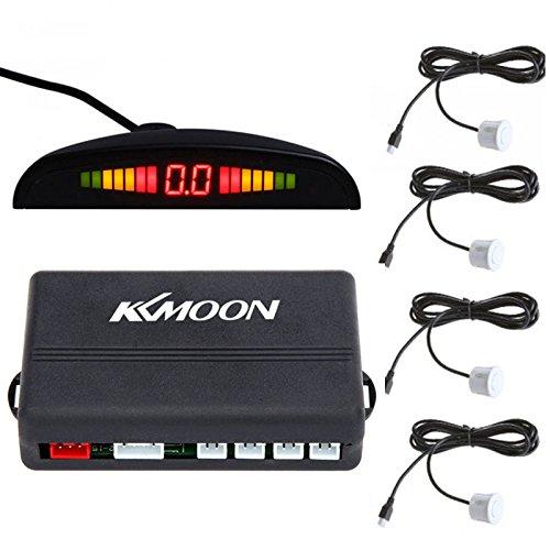 Docooler Car LED Parking Reverse Backup Radar System with Backlight Display + 4 Sensors (White)