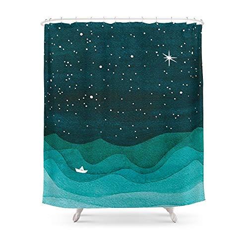 QAQ Starry sky Starry Ocean Teal Segelboot Aquarell Meereswellen Nacht Duschvorhang Wasserdichtes Polyestergewebe Bad Duschvorhang, 180X200Cm