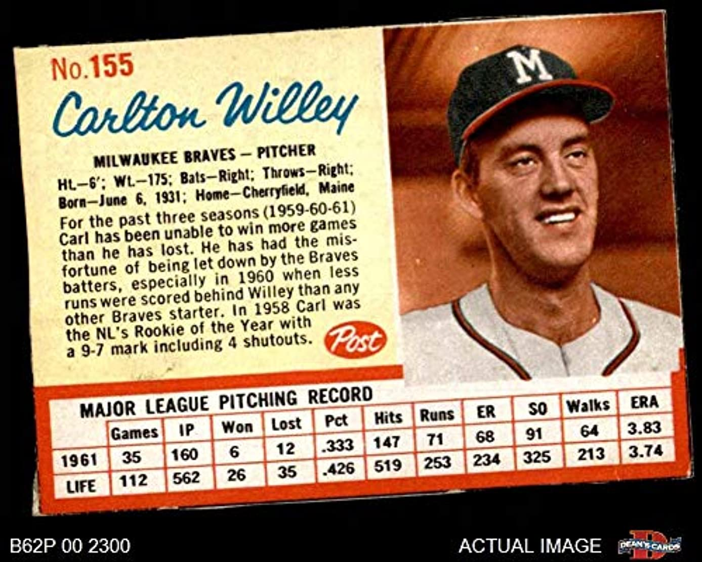 1962 Post Cereal # 155 Carlton Willey Milwaukee Braves (Baseball Card) Dean's Cards 3 - VG Braves