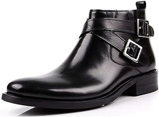 Rui Landed Premium en Cuir Véritable Bloc Talon Botte De Travail for Hommes Haut Haut Boot Tirez sur Le Style Boucle Sangl...