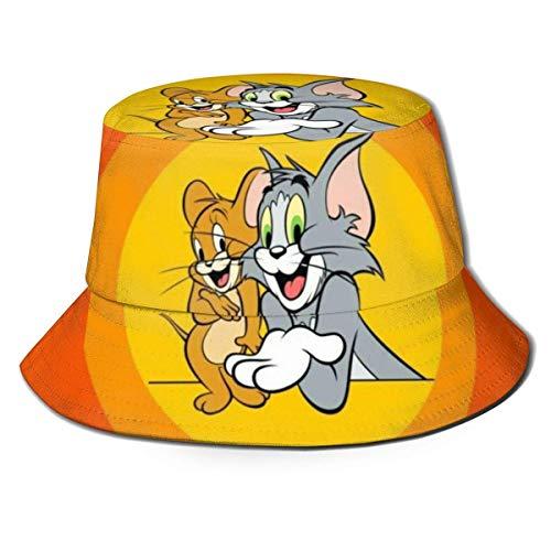 Tom y Jerry Sombrero de Pescador Sombreros de Pescador Unisex Impreso Sombreros de Cubo de Doble Cara Moda de Verano Protector Solar Visera Plegable Deporte al Aire Libre Cap-U0Q