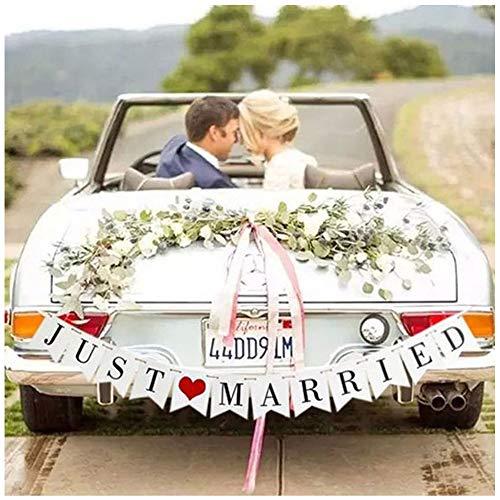 """Just Married - Cartel decorativo para el coche, diseño con texto en inglés""""Just Married"""""""