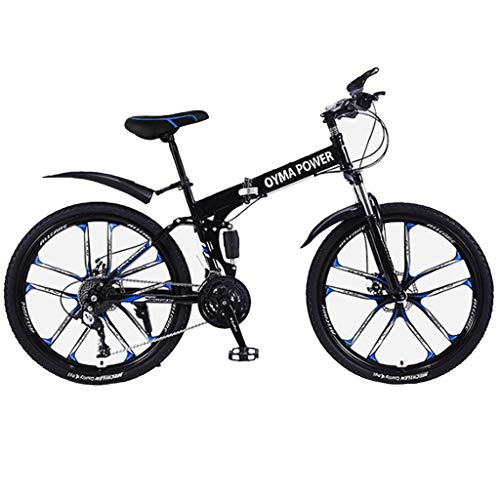 GMOON 26in Folding Mountain Bike/Adult Trek Bike/Bicicletas para Hombres Hybrid Bike/shimanos 21 Speed Bicicleta Full Suspension Bicycle/MTB Bikes, for Men/Women (Black)
