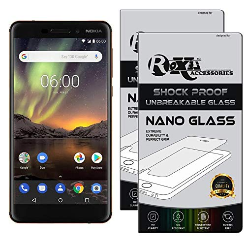 Roxel {Pack of 2} Nokia 6.1 Flexiable Nano Glass Screen Protector with Unbreakable Nano Film Glass [ Better Than Tempered Glass ] Screen Protector for Nokia 6.1 (Black, Copper, 32 GB) (3 GB RAM)
