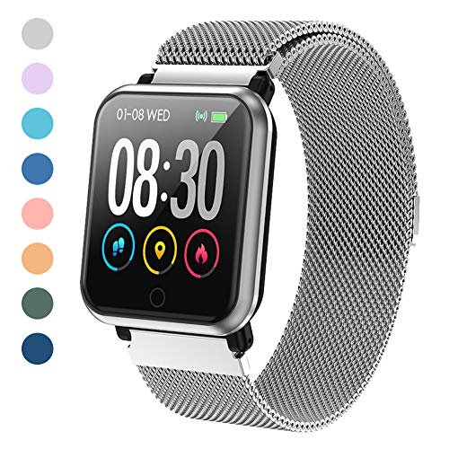 LEKOO Fitness Tracker Activity Tracker with Heart Rate Monitor Waterproof SmartWatch with Step Counter Fit Watch Sleep Monitor Step Counter for Men and Women (Stainless Steel Silver) Activity Features Fitness Sports Trackers