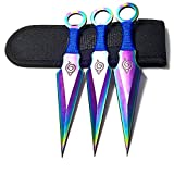 Avias Knife Supply 6.5 inch 3 Piece Stainless Steel Hokage Ninja Kunai Konoha Leaf Throwing Knife Set with Sheath (Rainbow-R)
