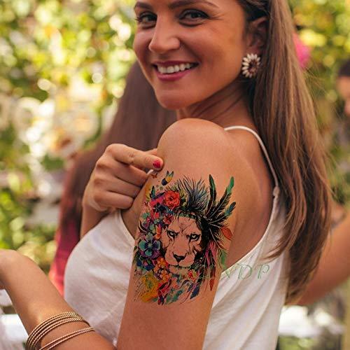 HXMAN 5pcs Wasserdichte Temporäre Tattoo Aufkleber Löwe Königin Krone Tier Tatto Flash Tatoo Gefälschte Tattoos Hand Bein Arm Für Mädchen Männer Frauen schwarz