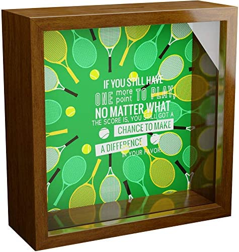 Tennis Wall Decor Gifts 6x6x2 Memorabilia Shadow Box with Themed Glass Front Wooden Memory Box product image