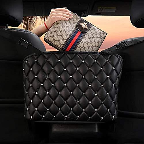 Nine Summer Car Handbag Holder,Leather Seat Back Organizer Mesh Large Capacity Bag, Purse Storage & Pocket, Seat Back Net Bag, Handbag Holder Between The Two Seats of The Car (Black+Diamond)