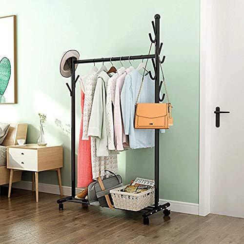 BBZZ Secado de Metal para Ropa de Dormitorio con Estante Inferior de Almacenamiento para Cajas y Zapatos,45 * 56 * 168