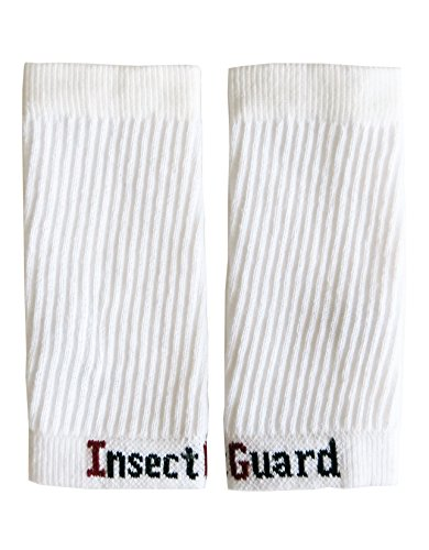 "InsectGuard - Permethrin Treated Tick & Mosquitoes Insect Repellent 7"" Long Pair of Sleeves/Gaiters (White) One Size Fits All Up to Adult Medium"