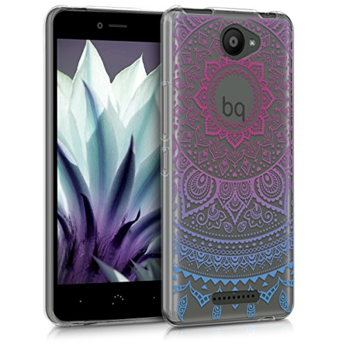 kwmobile Hülle kompatibel mit bq Aquaris U Lite - Hülle Silikon transparent Indische Sonne Blau Pink Transparent