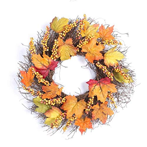 kaige Maple Leaf Wreath Natural Artificial Wreath Decorative Halloween Vine Ornament Door Hanging Thanksgiving Wreath Window Decorations WKY
