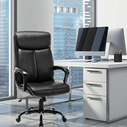 Office Chair,Desk Chair,Leather Chair,High Back,250lbs Weight Capacity,Adjustable Tilt Angle Swivel Office Chair Thick Padding for Comfort and Desk Chair Ergonomic Design for Lumbar Support,Black