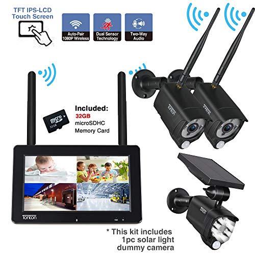 Tonton 4CH 1080P WLAN bewakingscamera, set met 2 x 2 MP wifi, waterdichte PIR-camera met audio-overdracht, dummy camera, tweeweg-audio, touchscreen, oplaadbare batterij, 32 G SD-kaart