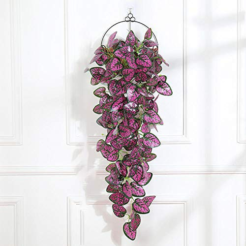 Artificial Flower Artificial Purple Hanging Plants 1Pcs Greenery Leaf Silk Fake Plant Decor Jungle Party Artificials Para Decoration 38 Inches