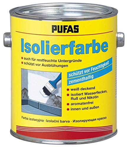 Pufas Isolierfarbe - Schutz vor Ausblühung und Feuchtigkeit zementhaltig weiß 2 Liter