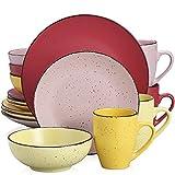 Tafelservice Steingut, vancasso MODA Geschirrset, Vintage Aussehen, 16-teiliges Kombiservice mit je 4 Speisetellern, Kuchentellern, Schalen und Tassen