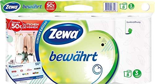 Zewa bewährt Toilettenpapier, strapazierfähiges WC-Papier 3-lagig in zartem Weiß , 1 x Vorratspack mit 8 Rollen
