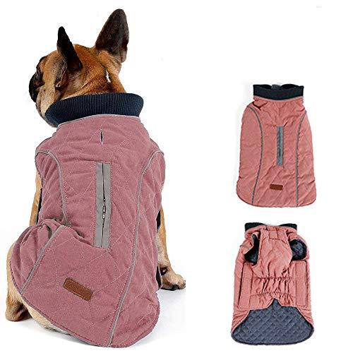 Morezi Dog Coat with Reflective strim, Winter Dog Jacket Vest Warm Puppy Coat with Harness Hole 5 Colors - L - Pink