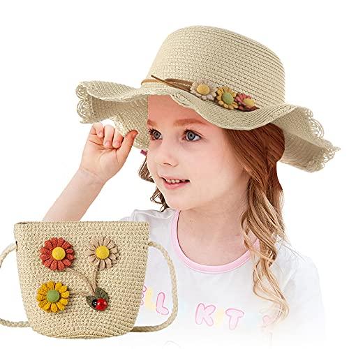 Czemo Mädchen Stroh Sonnenhut Mit Strandtasche mit Blumendekoration Süß Baby Blumen Mütze Set Outdoor-Aktivitäten Sommer Fit für 3-7 Jahre Kinder (Beige)