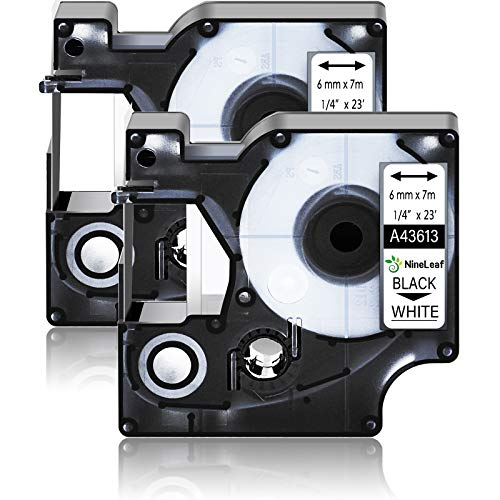 """NineLeaf 2 Pack Compatible for DYMO D1 43613 S0720780 6mm 1/4"""" x 23ft Black on White Label Tape Refill Work in LabelManager 160 280 420P 360D 210D PnP 500TS LabelWriter 450 Duo ColorPop Label Maker"""