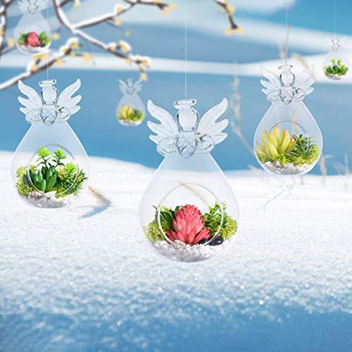MornBee Essenceliving Pack van 6 Engel Terraria, Kerst Glas Engelen, Engel Kaars Houders, Glas Terraria, Engel Planters, Glas Planters, Engel Geschenken, Engel Vaas