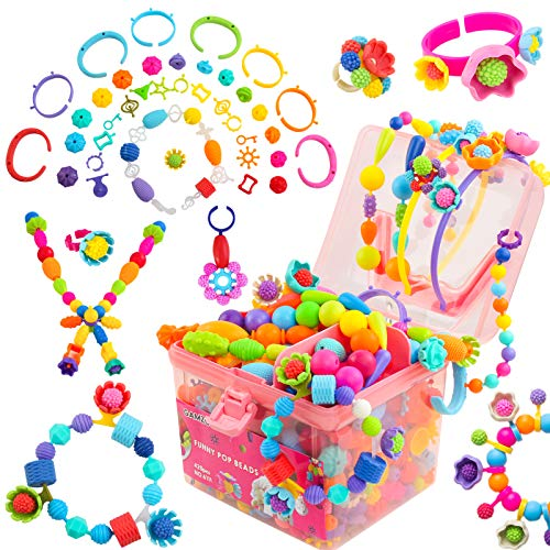GAMZOO pop Beads Craft Gifts for Girls Ages 3 4 5 6 7 Year Old Jewelry Making Kit for Kids to DIY Braclets Necklace Headband Rings Snap Art Beads Creativity Toys for Girls