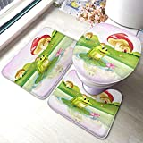 HOSNYE Frog Bath Mat on Lily Pad with Mushrooms Bathroom Mat Set 3 Pieces Rug Toilet Seat Lid Cover Non Slip Mat Anti-Skid Pad