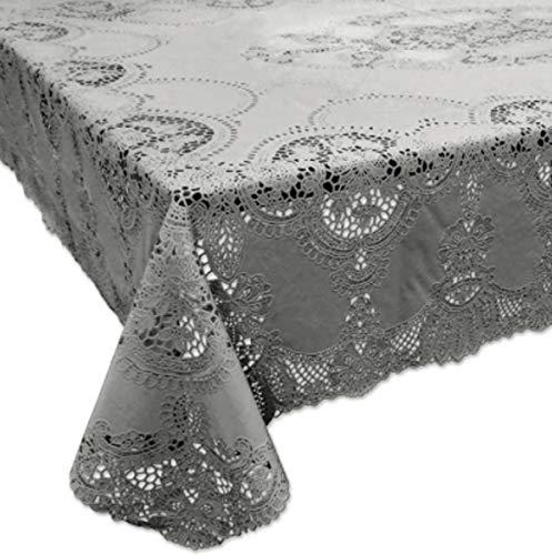 SCHÖNER LEBEN. Mantel de encaje de ganchillo Amira, gris, 137 x 180 cm