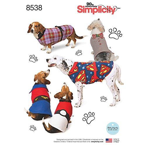 Simplicity US8538A Schnittmuster 8538 A (S-M-L) Hundemantel in DREI Größen, Papier, weiß, 22 x 15 x 1 cm
