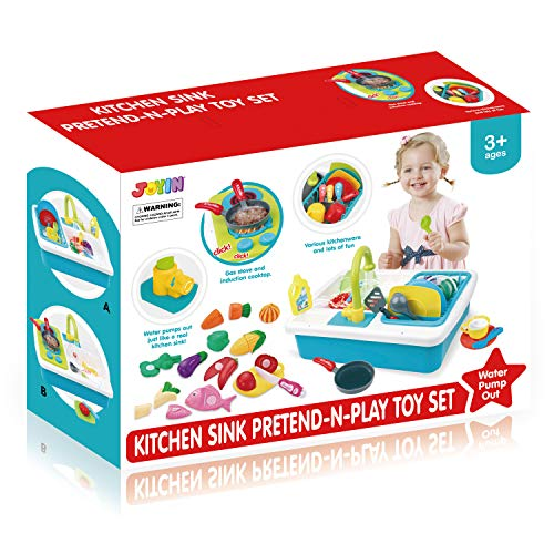 JOYIN Pretend-n-Play Play Kitchen Accessories Washing Dishes Toy Sink Playset with Running Water, Stove, Utensils and Playfood Cutting Food Toy