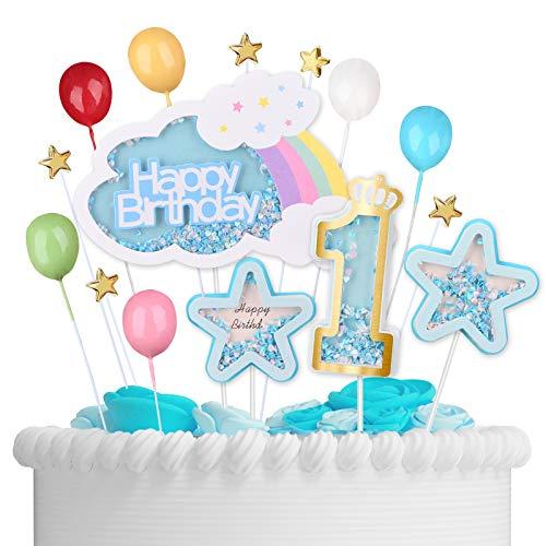 VAINECHAY Happy Birthday Tortendeko Geburtstag Erster - 1st Kuchen Dekoration Kuchendekoration Kuchendeko Torten Deko Cake Topper Blau Sterne Cupcake Toppers für Junge Mädchen Kindergeburtstag Baby