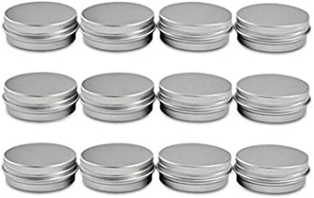 12 pcs of 2 Oz, 60 ML Gram Jar Cosmetic Sample Silver Aluminum Tins Empty Slip Slide Round Containers with Tight Sealed Twist Screwtop Cover Small Ounce for Lip Balm Make Up Eye Shadow Powder