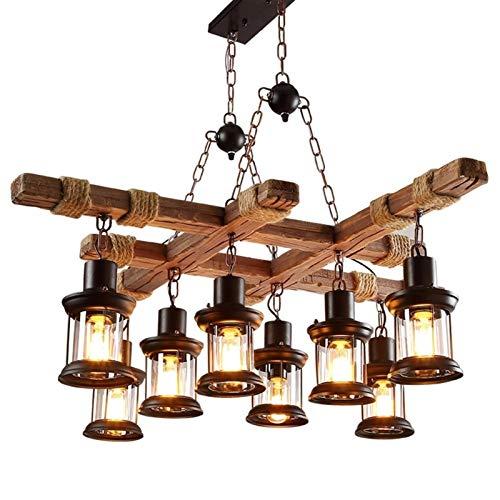 Araña de luces para barra en el ático, Lámpara colgante industrial   Personalidad creativa hecha de madera y metal Lámpara colgante para salón   Ajustable en altura   E27 Restaurante Cocina Cafe